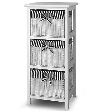 3-Drawer Storage Cabinet with 3 Wicker Baskets Bathroom Bedroom ...
