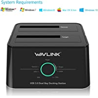 WAVLINK USB 3.0 to SATA (5Gbps) Dual-Bay Hard Drive Docking Station for 2.5 inch/3.5 Inch HDD,SSD Support Offline Clone/Backup/UASP Functions [8TB×2 ]-Black …