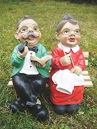 Oma Und Opa Auf Der Bank Figur Garten Amazonde Küche Haushalt