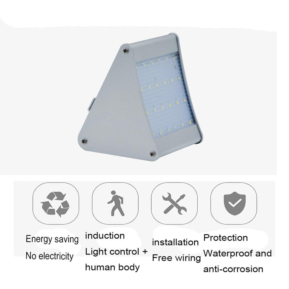 Lampada da parete esterna solare 24LED aluminum Sslw verdeicale triangolo Solar Garden Light Lawn Light, 11211590mm
