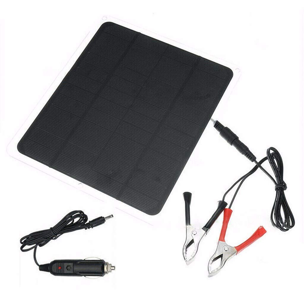Fctorua 20W Solar Panel 12V / 5V Battery Charger for RV Boat Car Home Alligator Clip by Fctorua