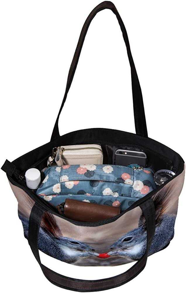 Handbag for Girls Grey Squirrel Love Shoulder Bag Women Tote Bag