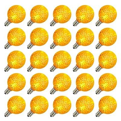 Vickerman 25813 - G40 Candelabra Screw Base Yellow LED Faceted (25 pack) Christmas Light Bulbs (XLEDG47)
