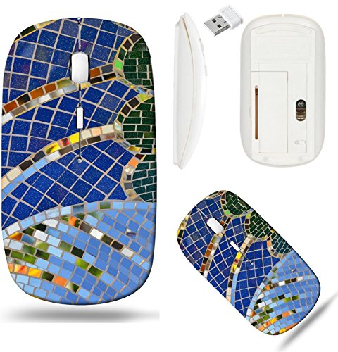 Liili Wireless Mouse White Base Travel 2.4G Wireless Mice with USB Receiver, Click with 1000 DPI for notebook, pc, laptop, computer, mac book IMAGE ID 32884025 Tile and mirror mosaic texture backgroun