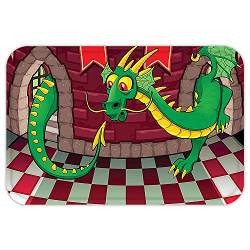 Magic Carpet Costume Video (VROSELV Custom Door MatCartoon Video Game Design inside the Castle with Dragon Fantasy World Medieval Illustration Ruby Green)