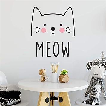 Etiqueta de la pared de Vinilo Lindo Gato Meow Sticker Para Niños Niñas Decoración de la Habitación Nursery Decoración Extraíble Casa Dormitorio Arte Diseño 42 * 39 cm: Amazon.es: Bricolaje y herramientas