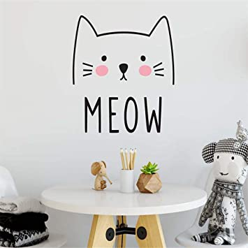 Etiqueta de la pared de Vinilo Lindo Gato Meow Sticker Para Niños ...