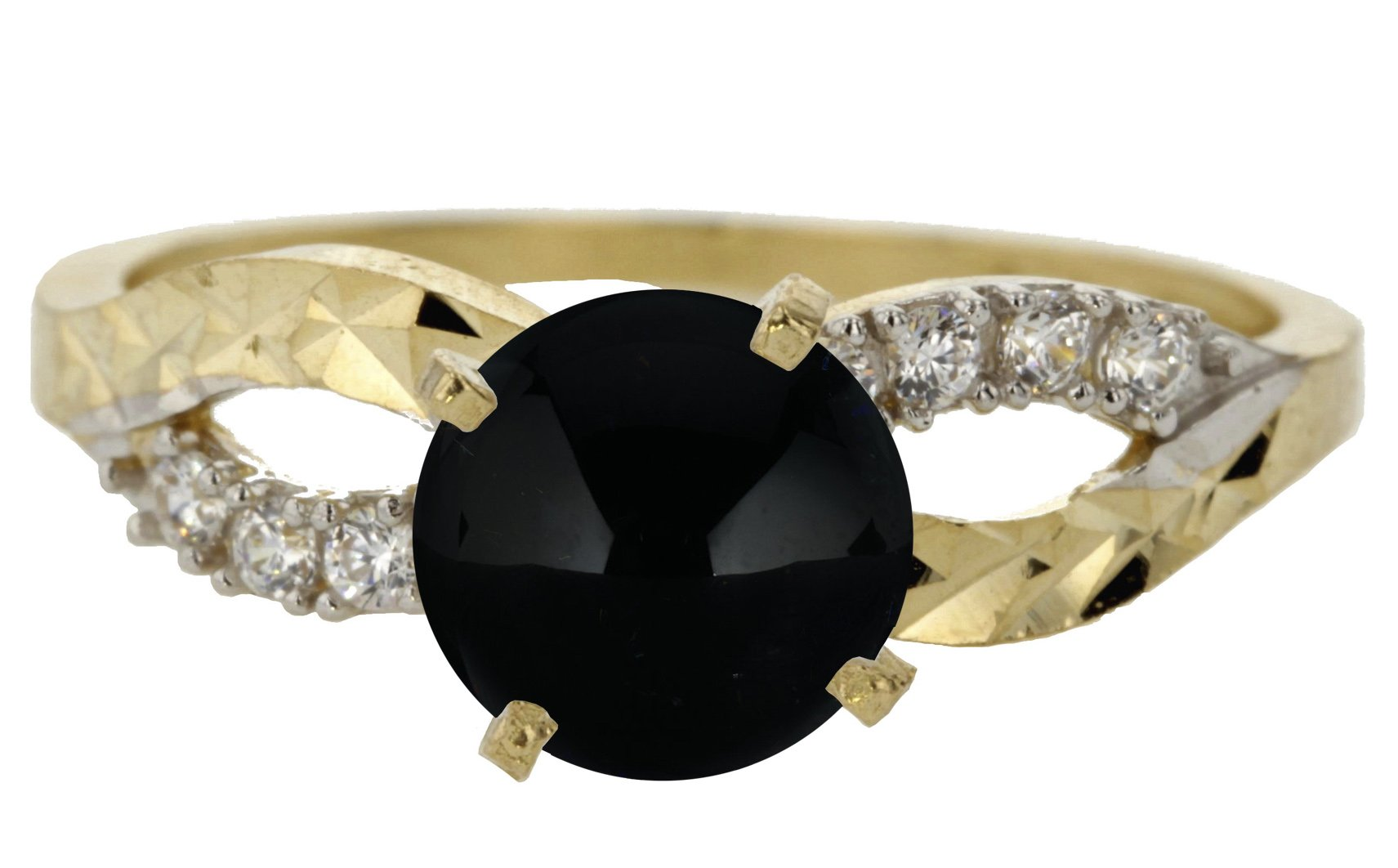 14k Yellow Gold Cabochon Natural Genuine Black Onyx Round Solitaire Infinity Knot Engagement Ring Size 11