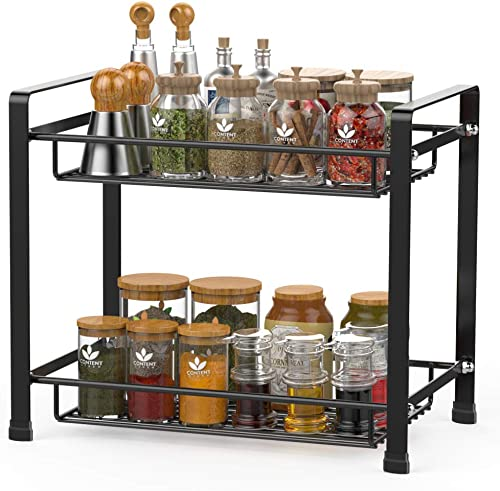 Spice Rack, Cambond Spice Organizer Seasoning Organizer Kitchen Bathroom Counter Organizer 2-Tier Standing Rack, Black