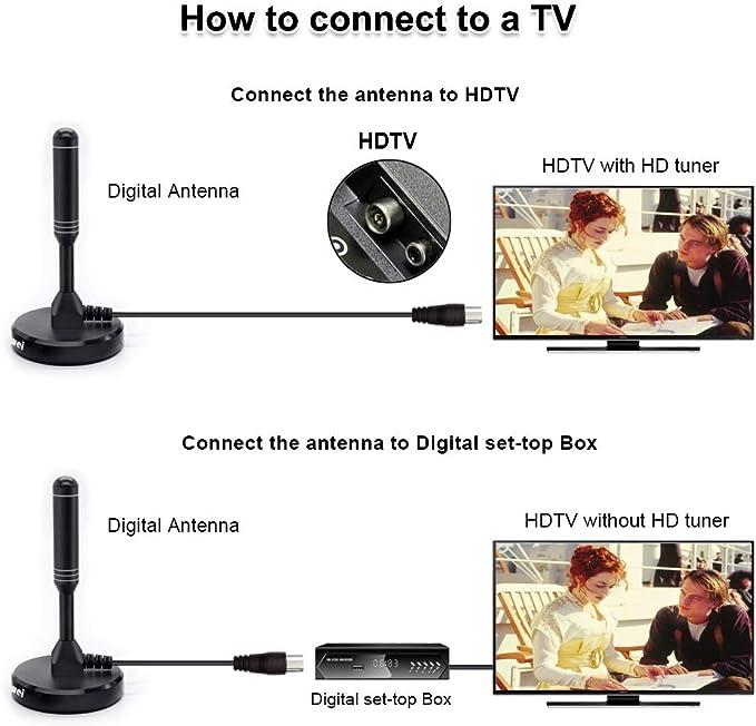 Antena de TV de Alta Ganancia - Antenas HD Digitales portátiles para Interiores y Exteriores Chaowei DVB66 con Base magnética, Cable coaxial de 6.5 ...