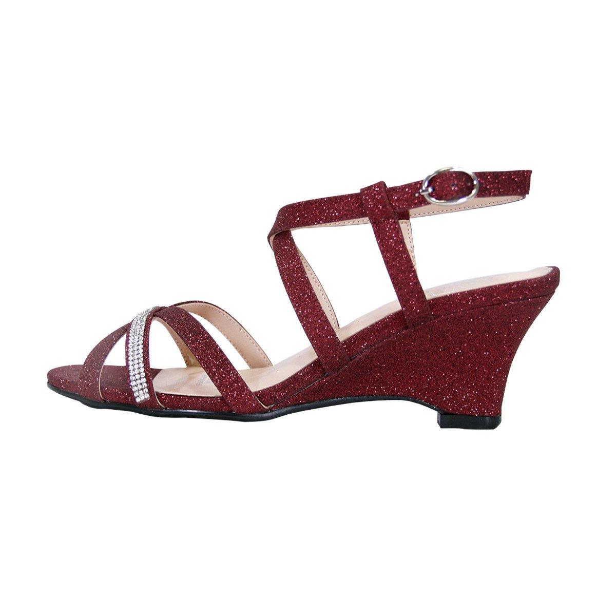 c88b8cf43 Amazon.com   Floral Joanne Women Wide Width Chic Rhinestone Strappy Wedge  Sexy Party Heeled Sandals   Platforms & Wedges
