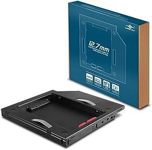 Vantec SSD/HDD Aluminum Caddy for 12.7mm ODD Laptop Drive Bay (MRK-HC127A-BK)