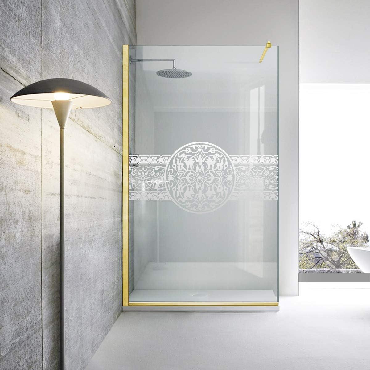 Modern Glass Art Leroy Timeless -Lyrics - Mampara de ducha (8 mm, cristal templado de seguridad), color dorado, transparente: Amazon.es: Bricolaje y herramientas