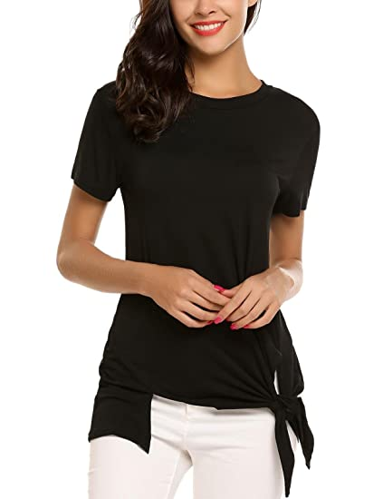 cb6baff7f62 SoTeer Short Sleeve Asymmetrical Hem Front Knotted Tops at Amazon ...