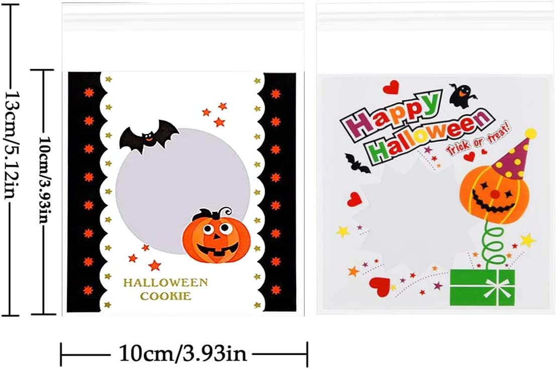 300 Pcs Halloween Candy Bags Self Adhesive Treat Bags Cellophane Candy Bags for Party Bakery Dessert Cookie Packaging