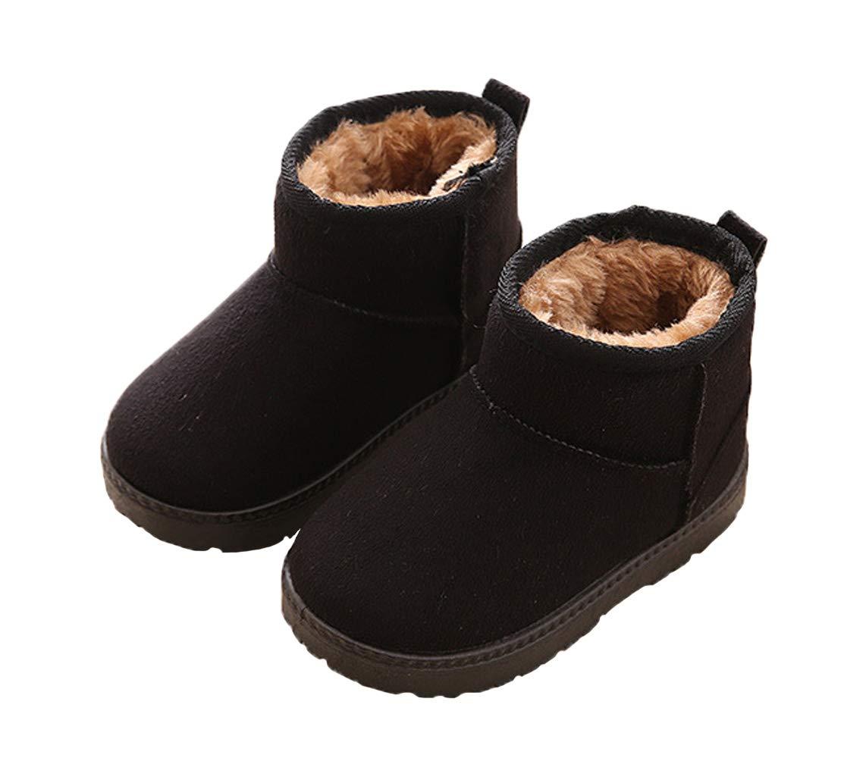 WUIWUIYU Kids' Boys' Girls' Round Toe Outdoor Warm Fur Lined Winter Snow Boots Toddler Little Kid by WUIWUIYU (Image #2)