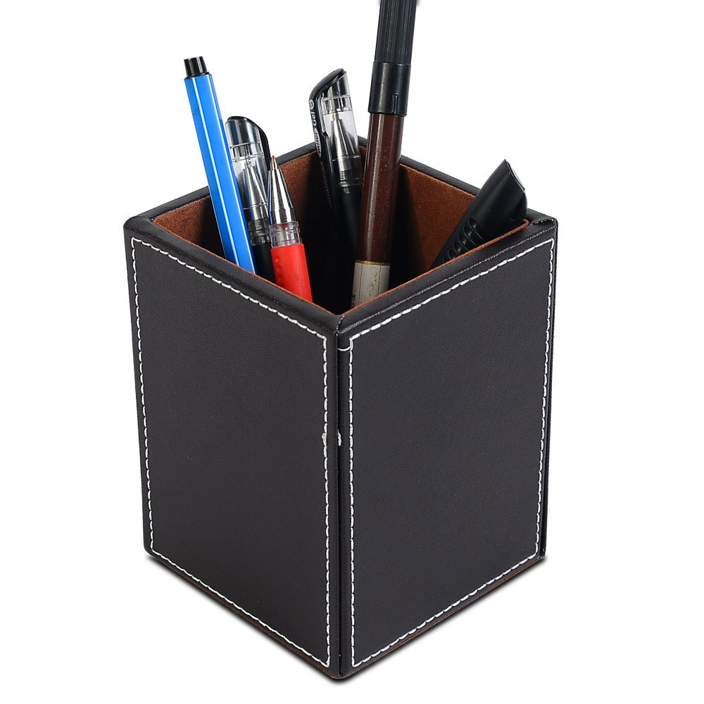 office pen holder. Pen Pencil Holder Cup Desk Organizer Office Wood Leather Storage Container Case