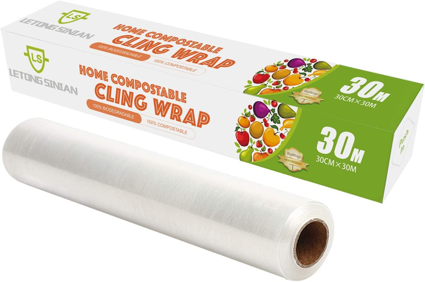 Compostable Plastic Wrap with Quick Slide Cutter Biodegradable Cling Wrap for Food, Leak-Proof BPA-Free Eco-Friendly Plastic Food Wrap Roll Cling Film