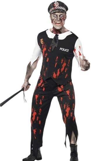 erdbeerloft - Hombre Zombie Police Officer con Sombrero Disfraz, M ...