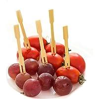 "200 PCS Disposable Bamboo Fruit Forks 3.5"" Length Eco-Friendly Cocktail Picks Sticks Cute Food Pick Party Supplies Plates Picks Dessert Forks Cake Forks"
