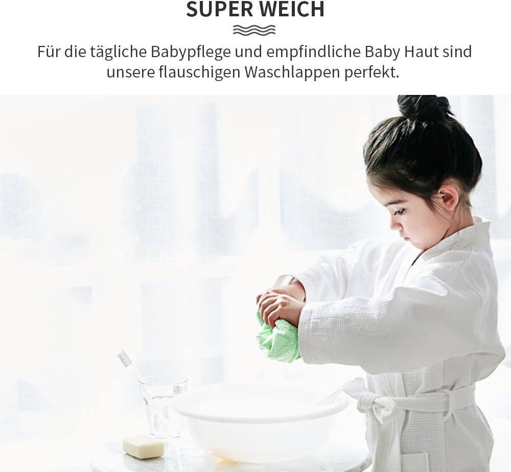 Future Founder Lot de 6 gants de toilette super doux pour b/éb/é 25 cm 100 /% coton de bambou