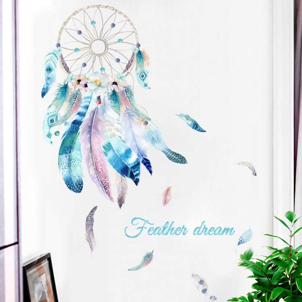 Dream Catcher Feathers Wall Decals, TANOKY Removable Quotes Dreams Come True Wall Stickers Art Mural for Bedroom Kids Room Nursery Living Room Decoration - Safe on Walls & Easy Peel (Feather)