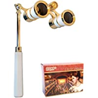 HQRP 3 x 25 Opera Glasses Binocular w/Built-in Extendable Handle/White-Pearl with Gold Trim with Crystal Clear Optics…