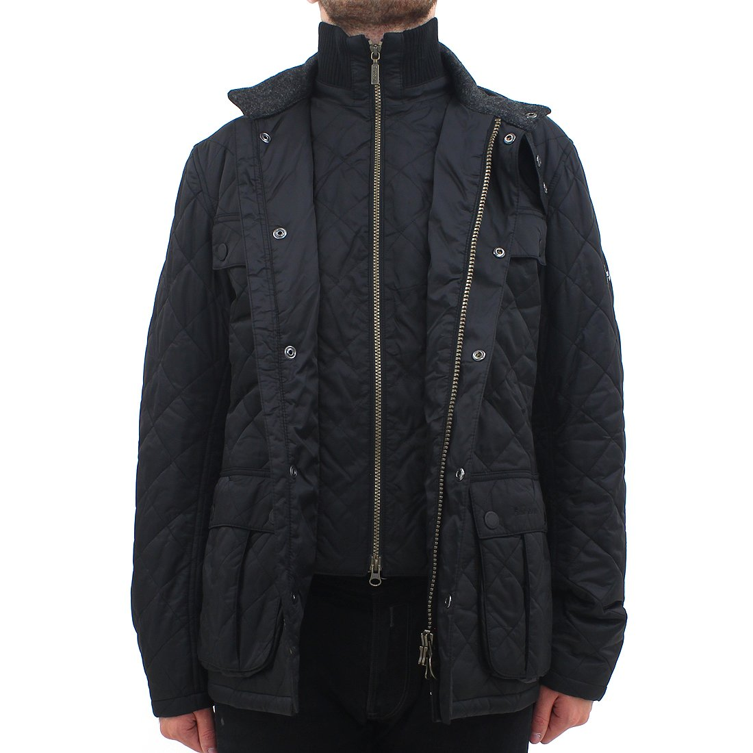 Barbour Internacional Wind Shield Quilt Chaqueta Negro ...