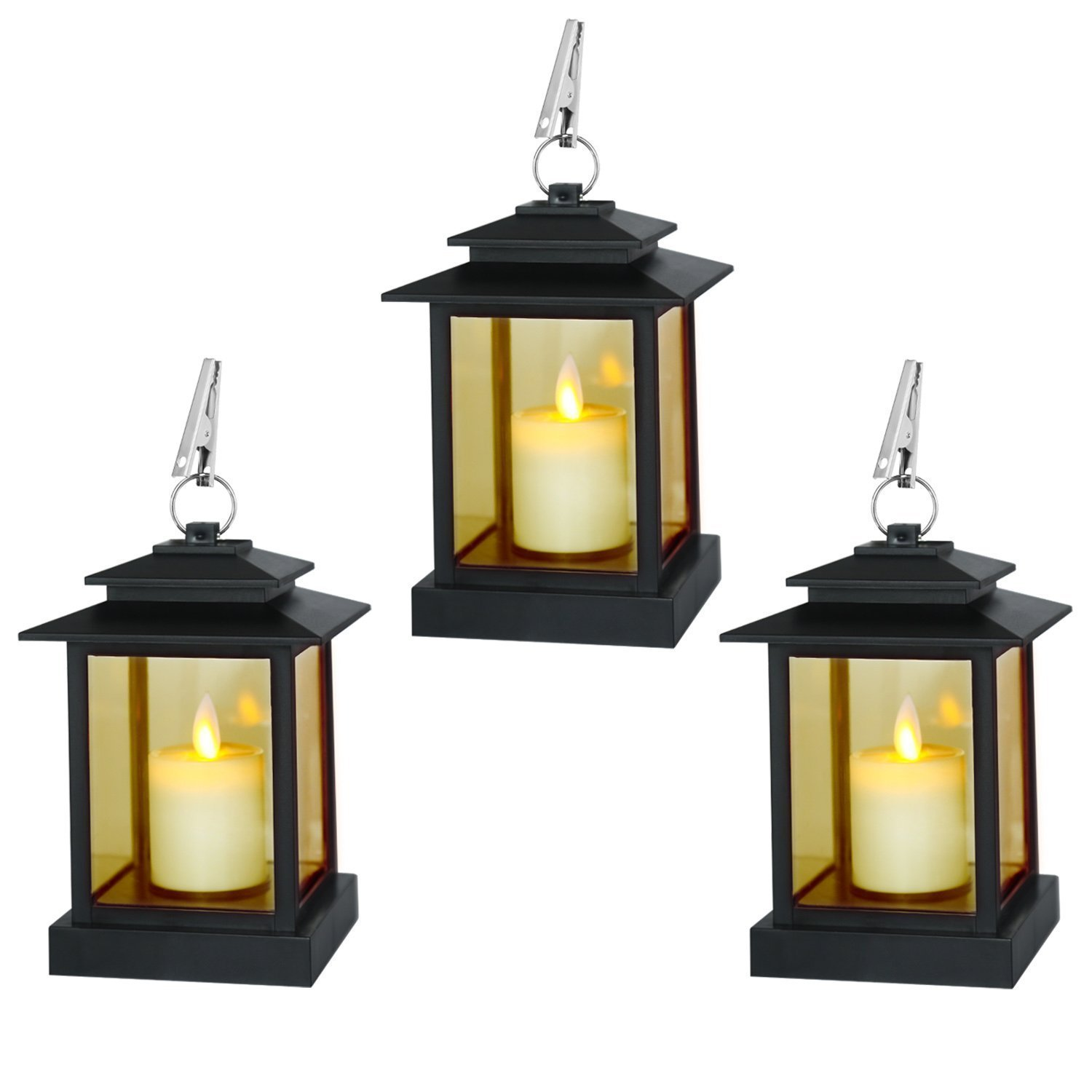 Decorative Candle Lanterns, Set of 3 Indoor and Outdoor Black Lanterns with LED Pillar Moving Wick Flameless Candles, 5 Hours Timer Lingyun RY-03504