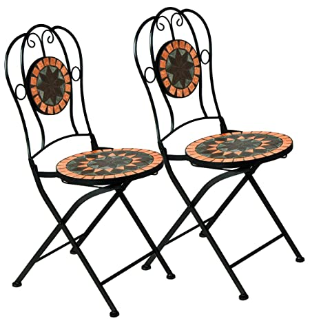 Garten Terrasse Mosaikstühle 2er Set Klappbar Garten
