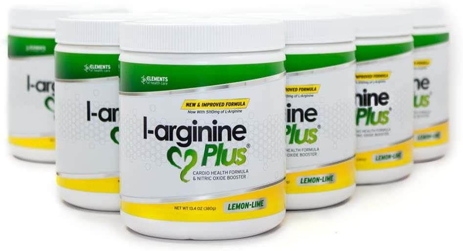 L-Arginine Plus Lemon Lime 6 Pack – Blood Pressure, Cholesterol Formula, Heart Health Supplement, 13.4 OZ 380g
