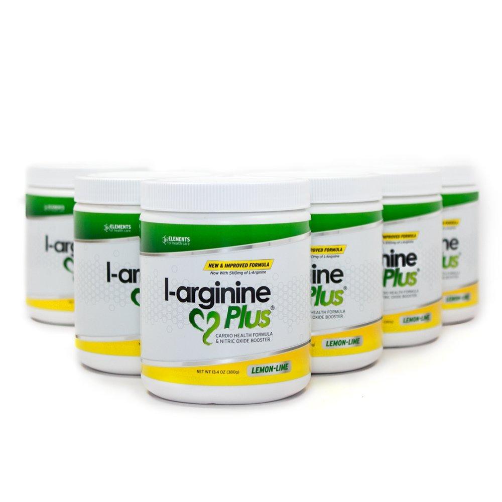 L-Arginine Plus Lemon Lime 6 Pack - Blood Pressure, Cholesterol Formula, Heart Health Supplement, 13.4 OZ (380g)