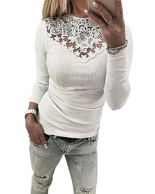 Minetom Camisetas Mujer Blusas Mujer Tallas Grandes EN Ofertas Blusas de Mujer Elegantes con Encaje de