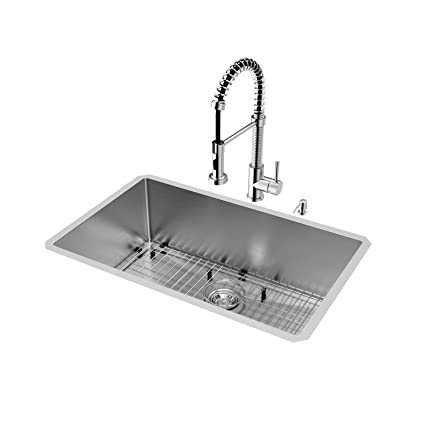 VIGO 30 inch Undermount Single Bowl 16 Gauge Stainless Steel Kitchen ...