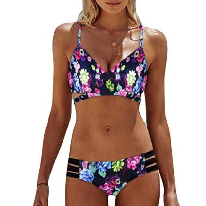 M, Azul Ba/ñadores Deportivas Mujer Xinan Traje de Ba/ño Acolchado Bra Swimwear Mujer