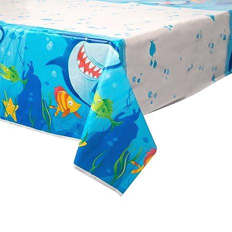 Ocean Shark Plastic Tablecloth, 84u0026quot; X 54u0026quot;