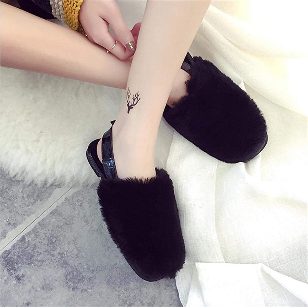Womens Slippers Women Home Slippers Leisure Fashion Warm Autumn and Spring Indoor Plush Slippers Soild Color Personality Fashion for Women Black