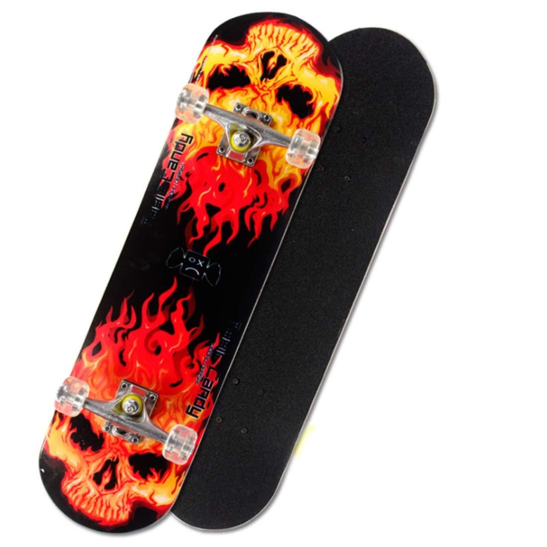 铁锋区志诚机电商店 スケートボードフリースタイルの完全なプラスチック製のボード折りたたみ可能なデッキとキッズボーイズ若者の初心者のためのぼんやりしたPUのキャスター (色 : Fire 01) Fire 01