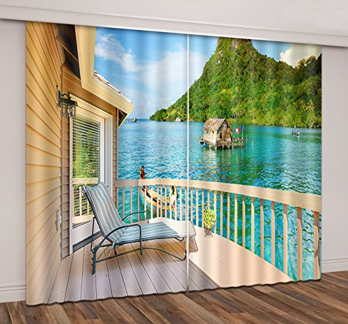 Ocean View House Decor Curtains By LB,Cottage Surrounded by Blue Water and Green Mountains 3D Thermal Insulated Window Curtain Living Room Bedroom Window Drapes 2 Panels Set,80W x 63L Inches Mountain Cottage