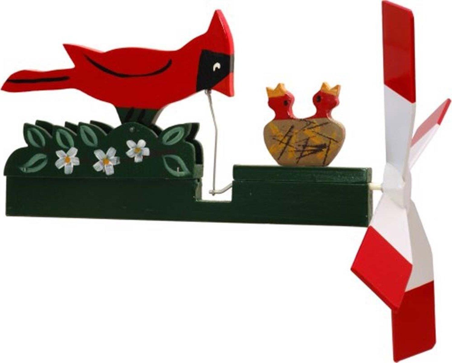 CHSGJY Handcrafted Antique Garden Cardinal Whirligig - Handmade Handpainted Wood Wind Spinner Outdoor Art Yard Stake Hand Home Living Decor