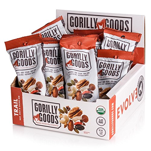 Gorilly Goods Organic Raw Vegan Trail Mix Individual Snack Packs (TRAIL – Cashews, Almonds, Pecans, Goji Berries, Coconut & Cacao), 1.3 Oz Bag (Pack of 12)