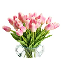 Deals on Packozy 20 pcs PU 13.3-inch Real-Touch Artificial Tulip Flowers