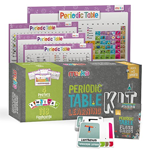 - Kids Periodic Table Learning Kit - Includes 4 Posters 22x17 + 118 Flash Cards with beautiful images representing each element - Educational Science for Kids