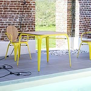 Sólido madera de sauce y amarillo Metal mesa de colores brillantes para interiores y exteriores New persona 4