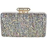 Feriamode Women's Bullet Top Glitter Multi Color Fabric Box Clutch Black