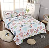 Brandream Nautical Bedding Sets for Boys Comforter Set Cheerful Fishes Printed Bed Quilt Set Queen Size