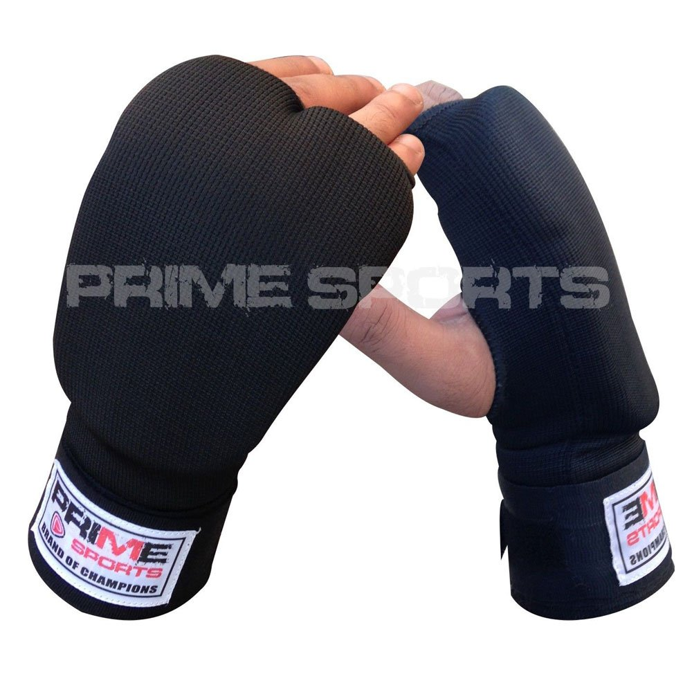 Prime Leather New Inner Glove with Wraps Jumbo Foam Padded Punch Bag Mitts MMA Wrist Fight Pair Black