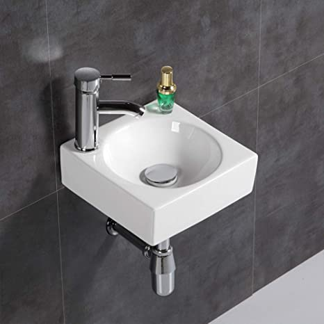 Moderno lavabo de pared para lavabo cuadrado pequeño para cuarto de baño (cuadrado): Amazon.es: Hogar