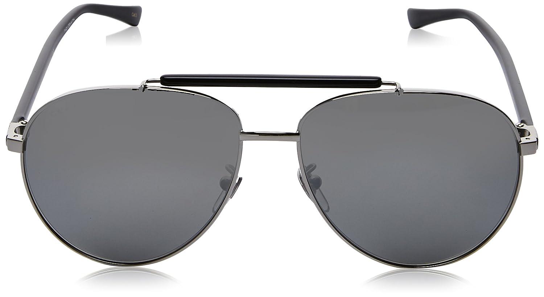 Gucci Herren Sonnenbrille GG0014S 001, Grau (Ruthenium/Silver), 60