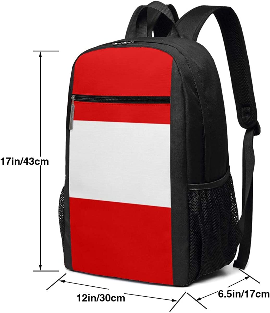XTYND556 Flag of Austria College Commuter Backpack Large Capacity Laptop Bag 17 Inch Travel Bag